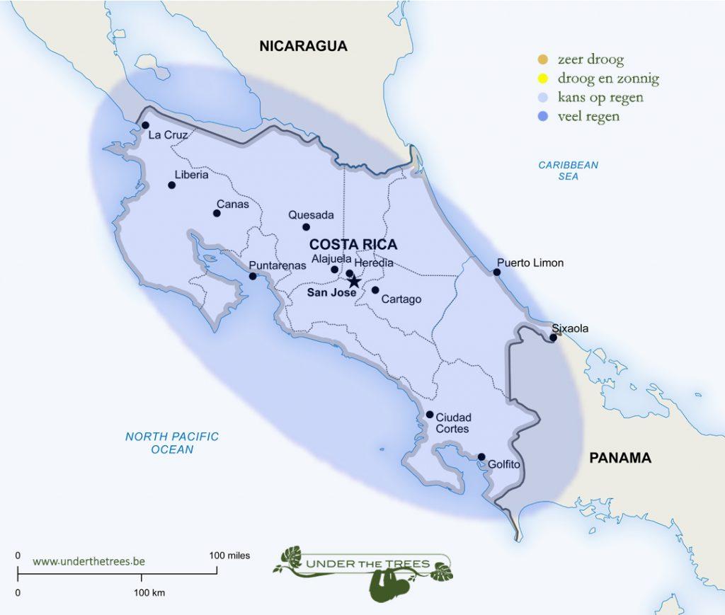 het weer in augustus in Costa Rica