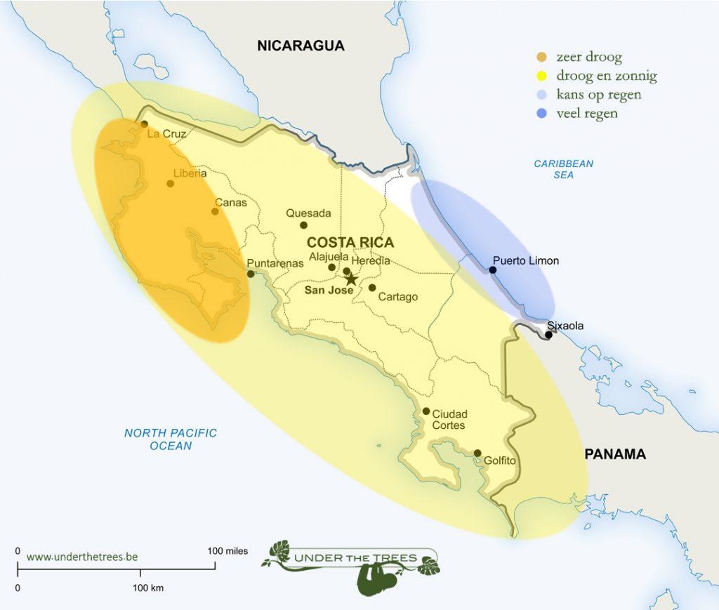 het weer in februari in Costa Rica