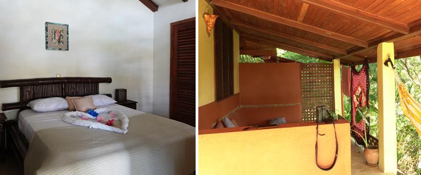 slaapkamer en terrasje in los caballos montezuma