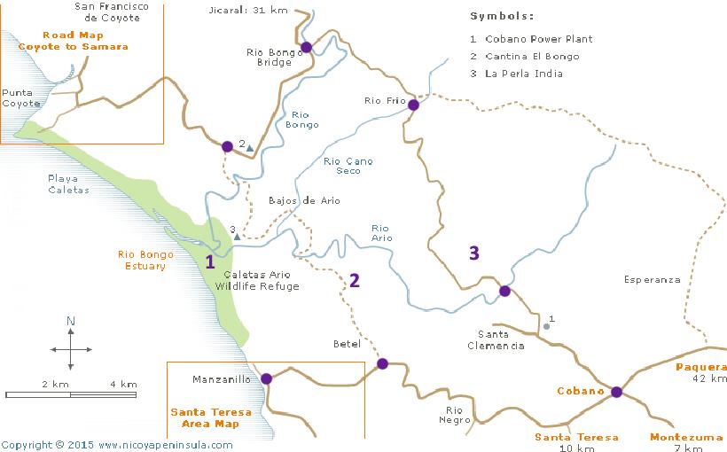 routes van samara naar santa teresa op kaart