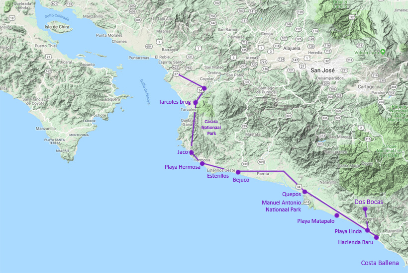welke dorpen aan de central pacific in costa rica
