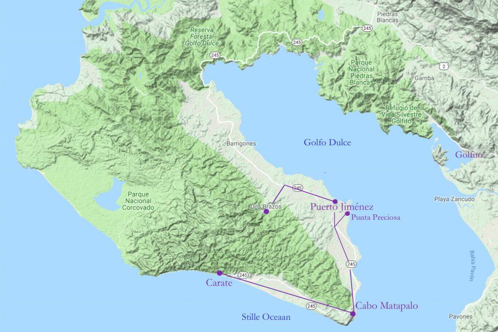 kaart van Puerto Jiménez naar Carate