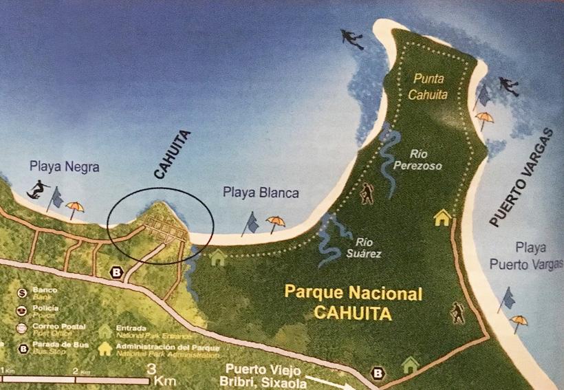 kaart Cahuita Nationaal Park