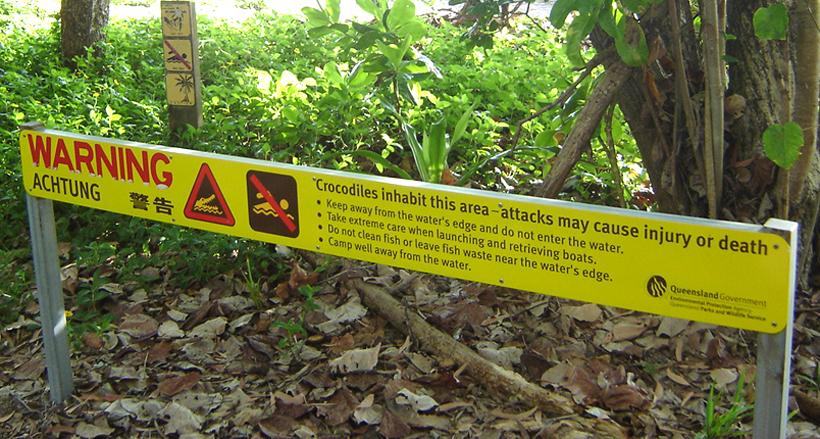 waarschuwing krokodillen clifton beach