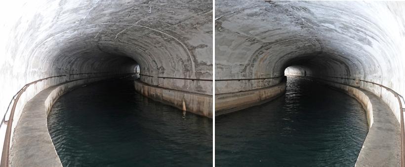 boottunnel langs wandeling kanaal svt Ante bij Sibenik