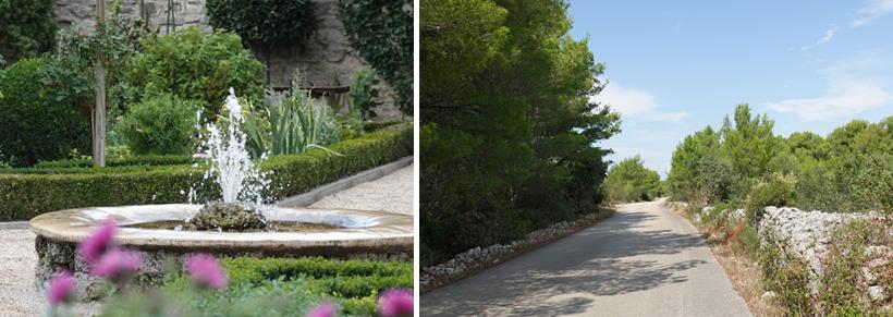 tuin van oude abdij in Sibenik en weg naar kanaal Svt ante wandeling
