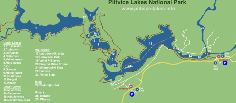kaart van Plitvice Lakes Nationaal Park