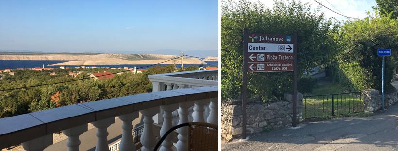Balkon met zicht op Jadronovo en pijlen naar Lokvisce