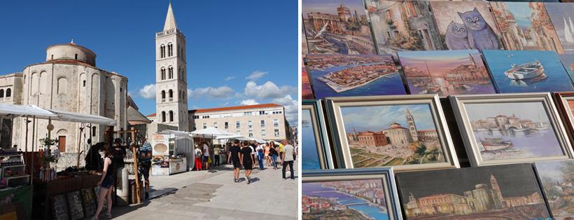 oude stad Zadar aan Adriatische kust markt