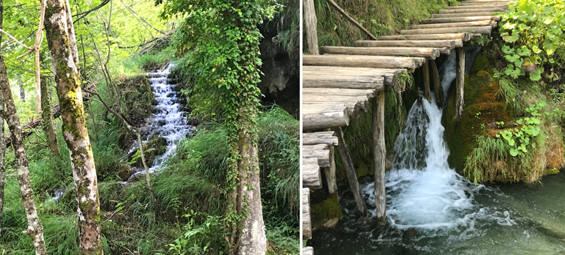 watervallen langs en onder pad in Plitvice