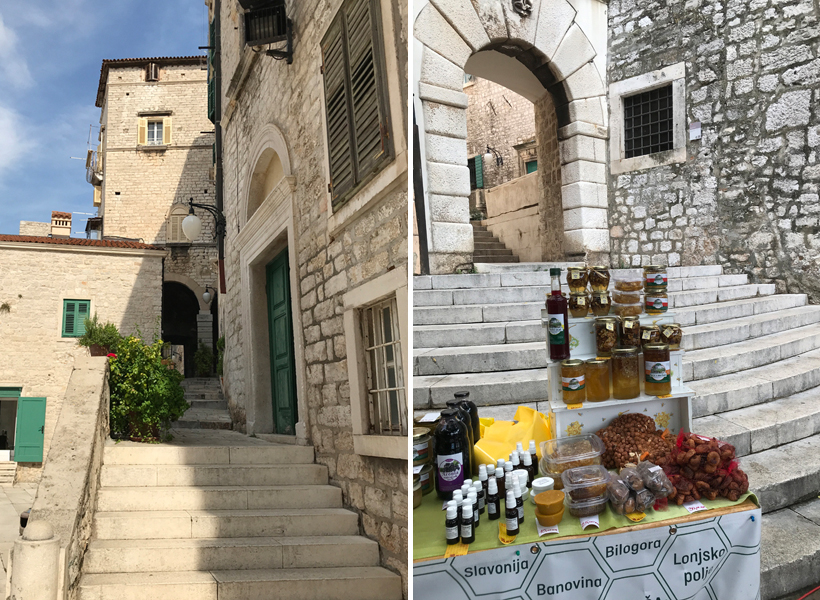 steegjes en oude gebouwen bij kathedraal Sibenik
