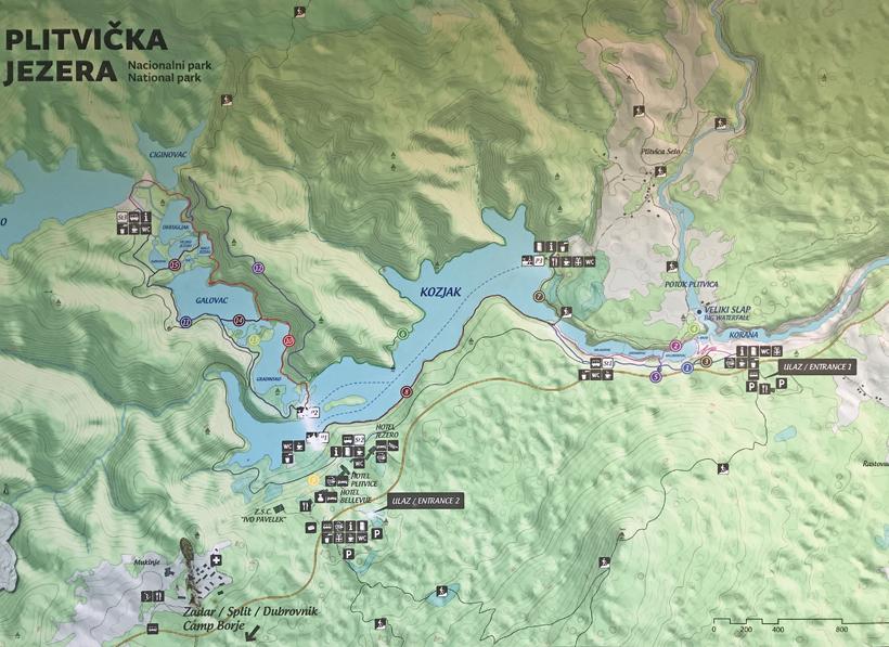 kaart met wandelroutes Plitvice
