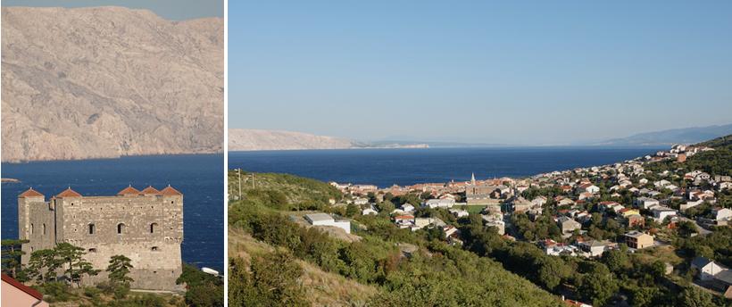 Zicht op Senj en fort langs de Adriatische kust