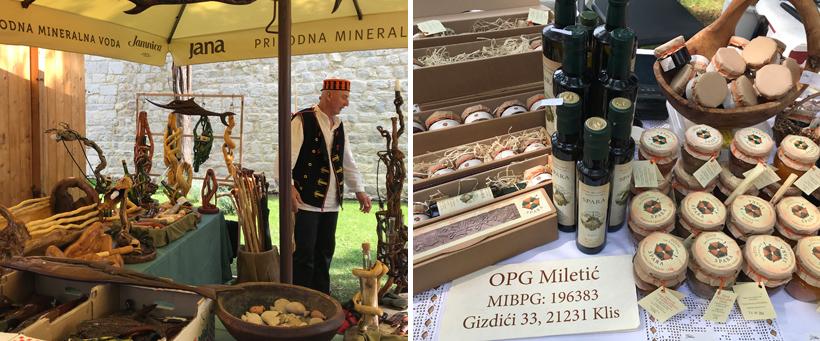 markt met lokale specialiteiten van de Adriatische kust in Sibenic