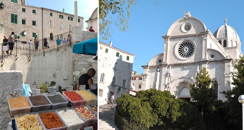lokale specialiteiten markt en kathedraal Sibenik