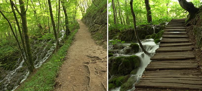 watervallen langs de paden in Plitvice