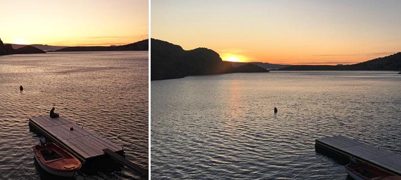 zonsondergang in baai van Lukovo aan Adriatische kust