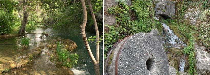 rivieren en molensteen in krka