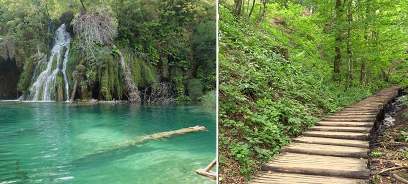 helder water en pad onder bomen plitvice