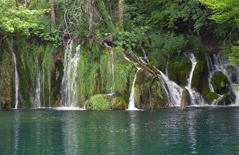 watervalen en vegetatie in Plitvice