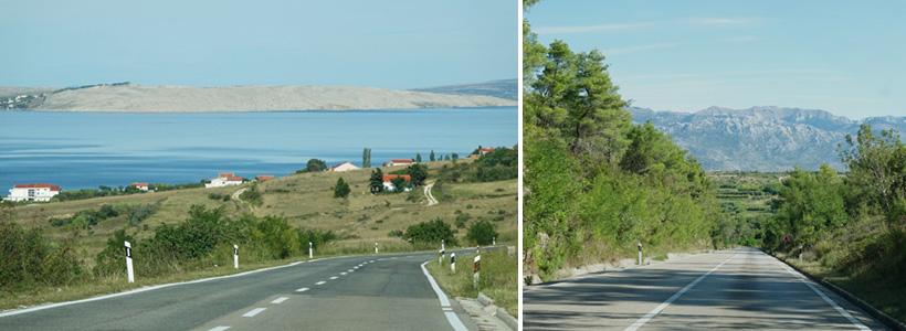 weg naar kale eiland Pag