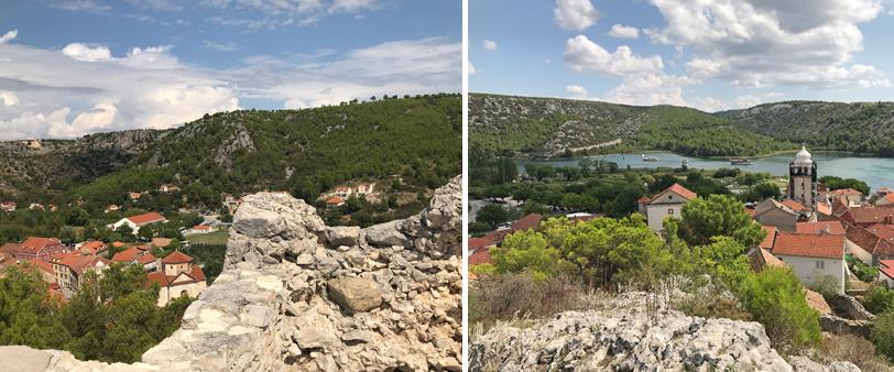 zicht vanop heuvel in Skradin