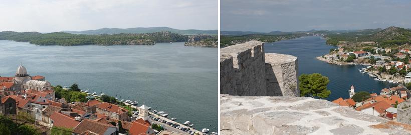 zicht vanop fort op oude stad Sibenik en kanaal
