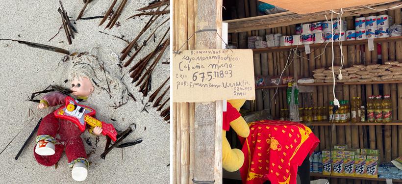 afval op het strand en klein winkeltje op naranjo Chico