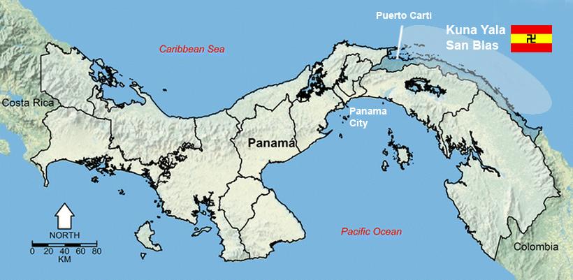 Kaart grondgebied San Blas
