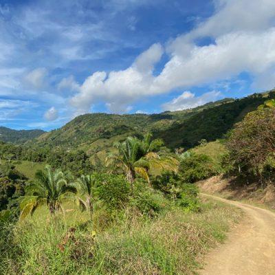In de wolken in La Trinidad in de groene heuvels boven Ojochal