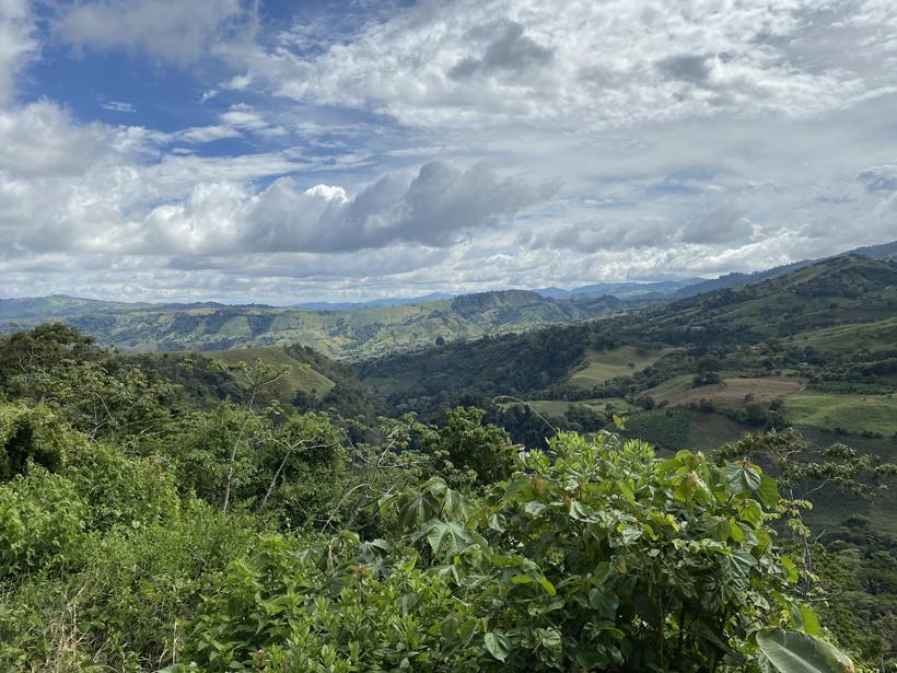 groene heuvels bij La Trinidad Pejibaye