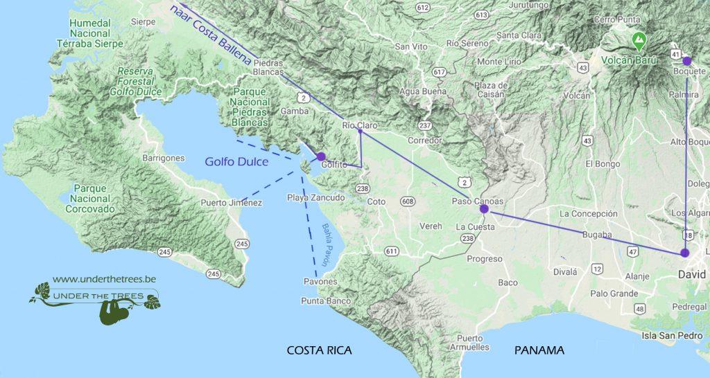 van Panama naar het zuiden van Costa Rica