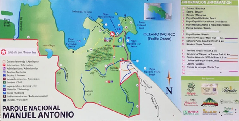 wandelkaar manuel antonio nationaal park
