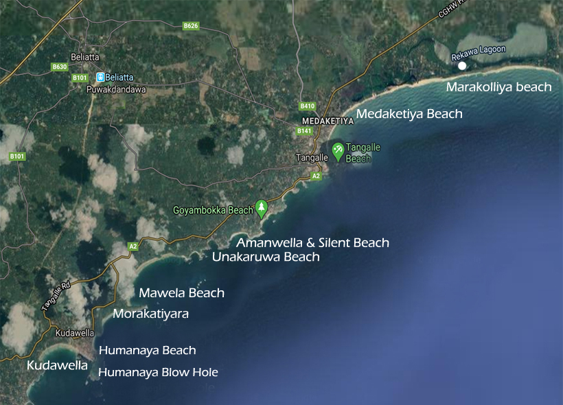 stranden van Tangalle tot Kudawelle