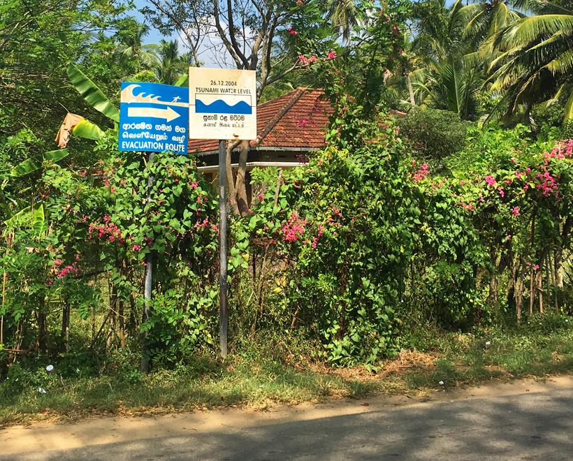 zeeniveau tsunami dorp Sri Lanka