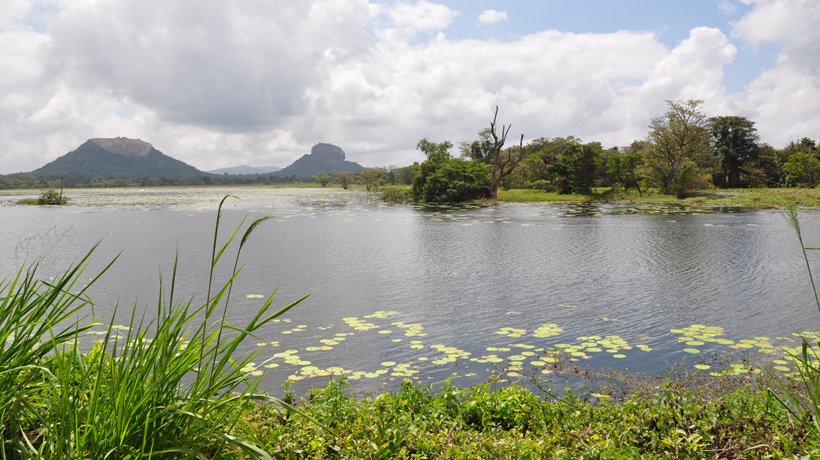 Kandalawa reservoir met zicht op Sigiriya rots en Pidurangala rots