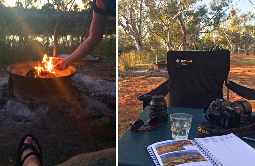 avond op camping emu creek