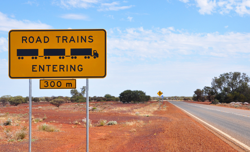 road trains in golden outback