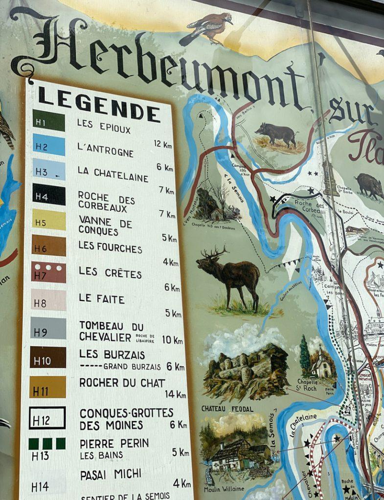 wandelingen in Herbeumont kaart