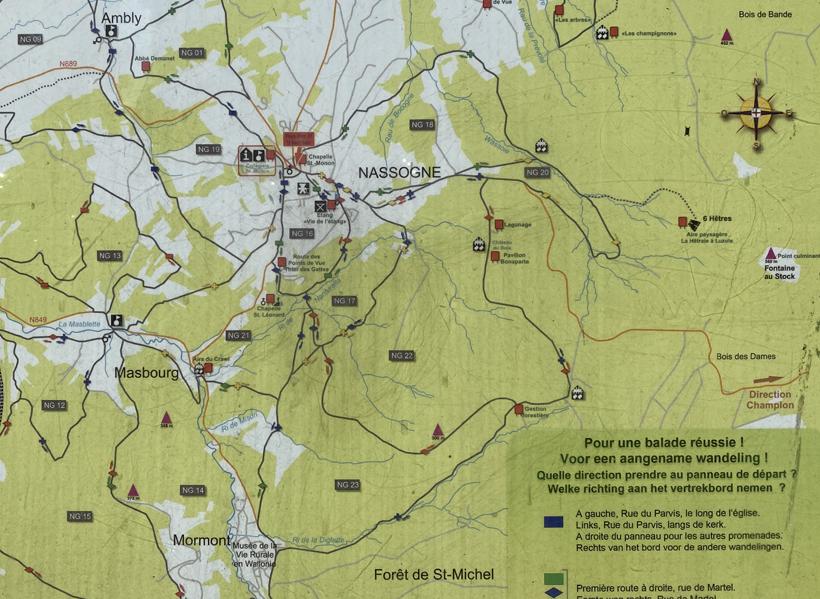 Kaart woud Saint Michel bij Nassogne
