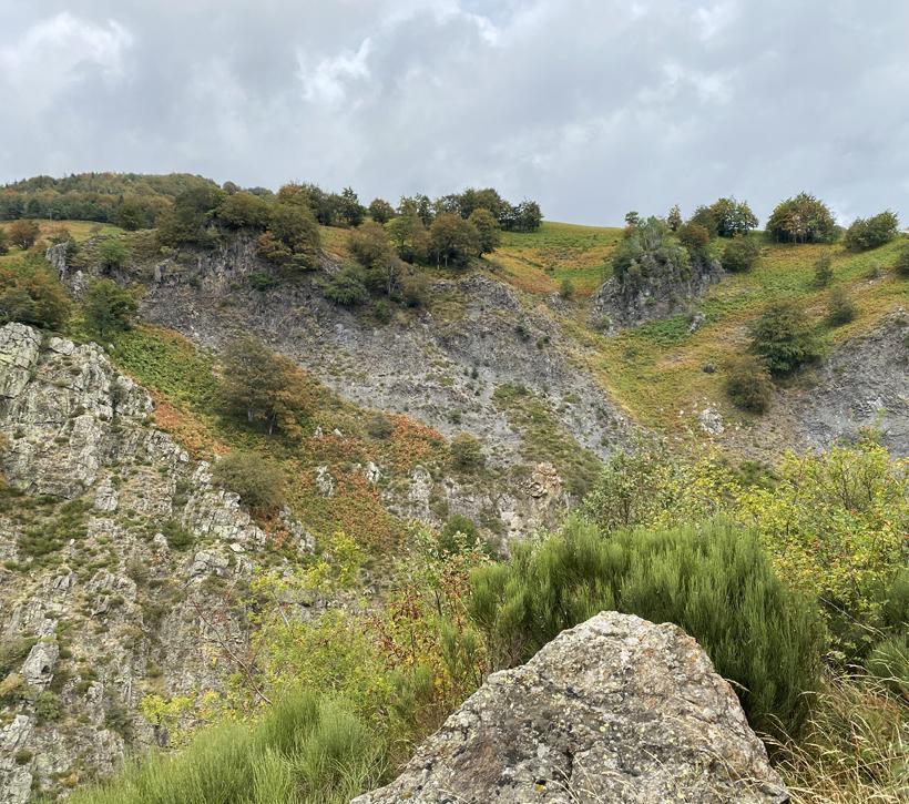 vulkanisch landschap bij waterval Ray Pic