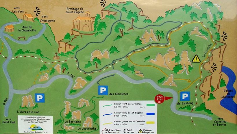 kaart wandelroutes in bois paiolive