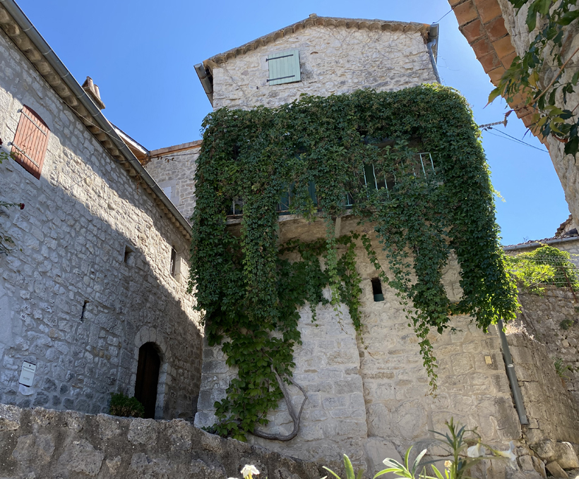 klimop balkon in historisch balazuc