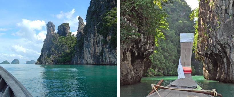 met bootje naar koh lao la ding in Zuid-Thailand
