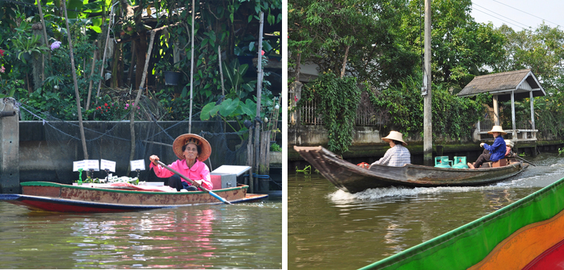 Thaise locals in bootjes in Bangkok