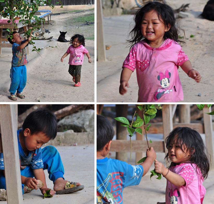 Thaise kinderen in bergdorp Noord Thailand
