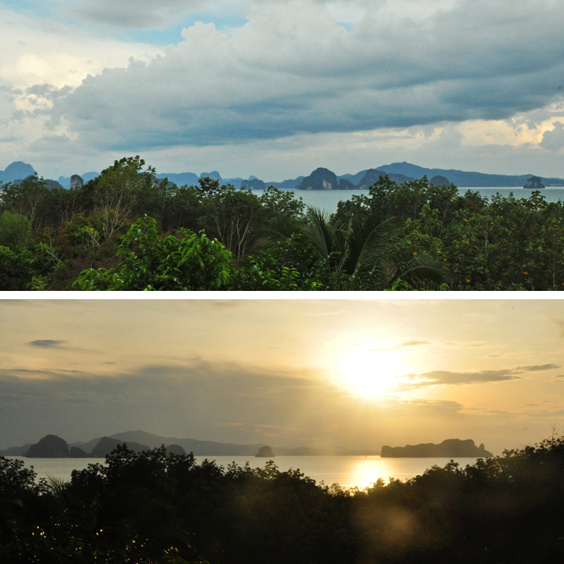 Phang Nga baai vanuit Koh Yao Noi in Zuid-Thailand