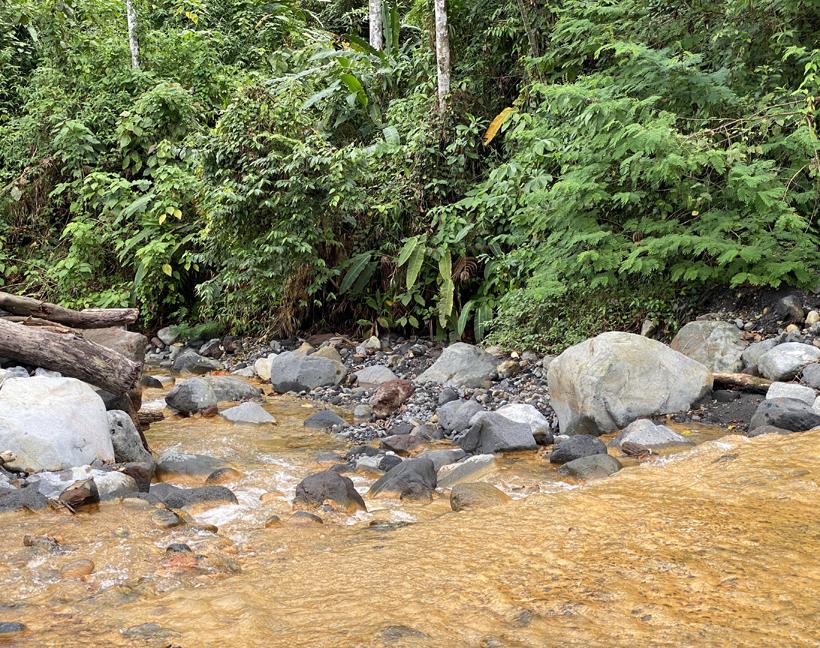 vulkanisch riviertje met sulfur in Dos Rios