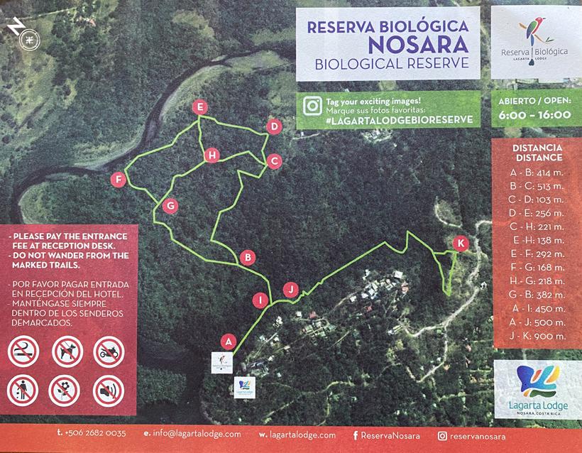trails in natuurreservaat Nosara
