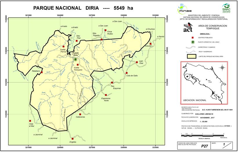 kaart Diria Nationaal Park